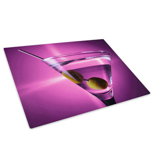Pink Cocktail Cool Glass Chopping Board Kitchen Worktop Saver Protector - AB253-Abstract Chopping Board-WhatsOnYourWall