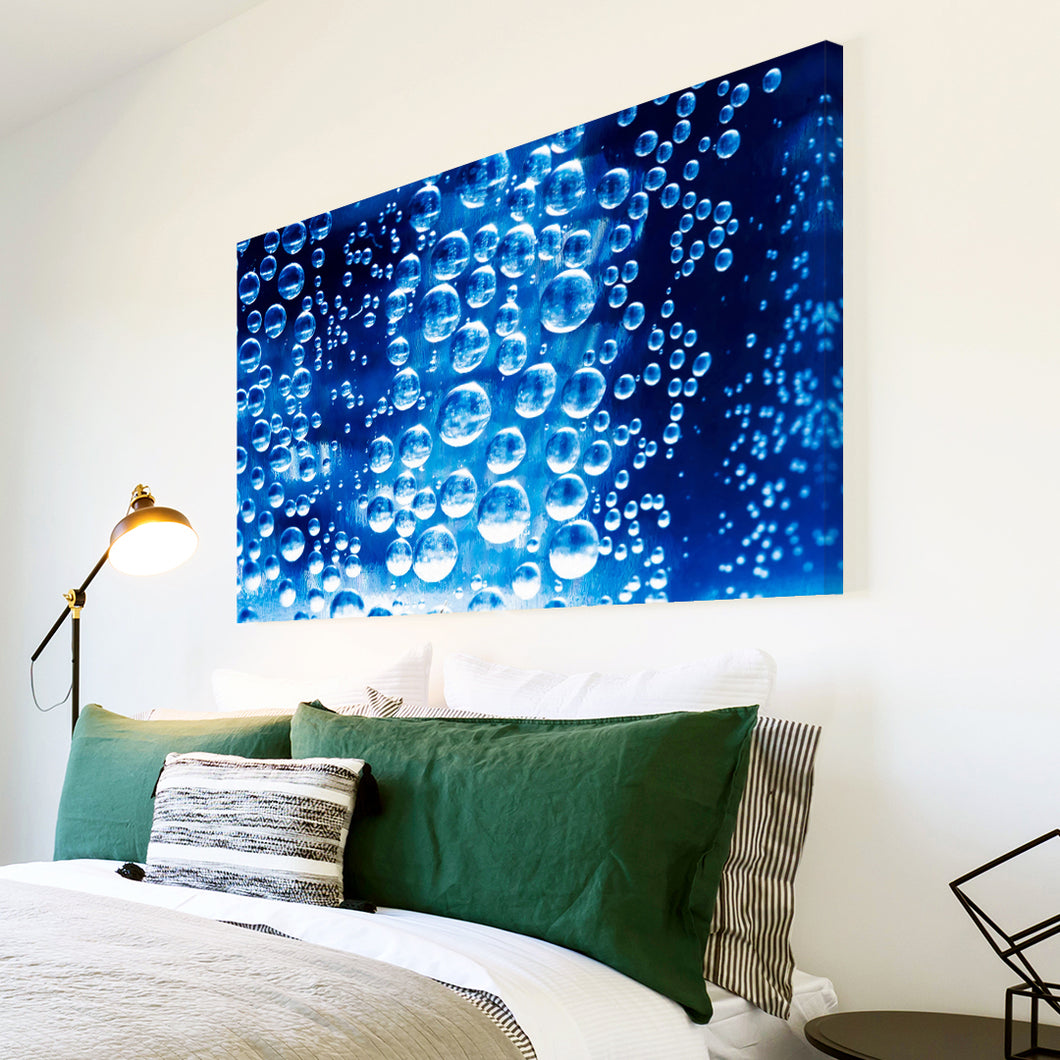 AB255 Framed Canvas Print Colourful Modern Abstract Wall Art - Blue Bubble Cool-Canvas Print-WhatsOnYourWall