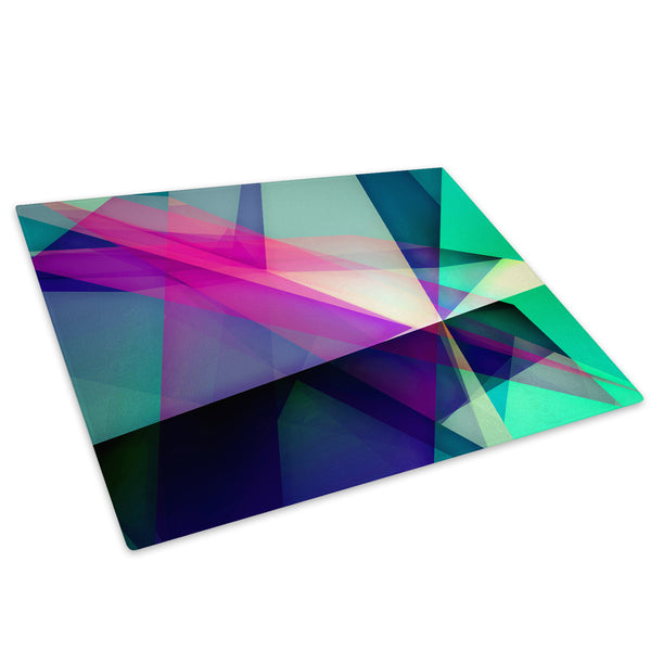 Green Pink Geometric Glass Chopping Board Kitchen Worktop Saver Protector - AB257-Abstract Chopping Board-WhatsOnYourWall