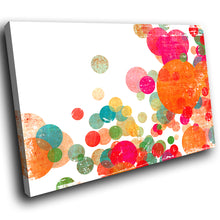 AB258 Framed Canvas Print Colourful Modern Abstract Wall Art - Orange Pink Circles-Canvas Print-WhatsOnYourWall