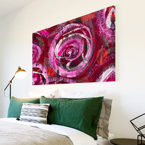 AB259 Framed Canvas Print Colourful Modern Abstract Wall Art - Red Pink Spiral Cool-Canvas Print-WhatsOnYourWall