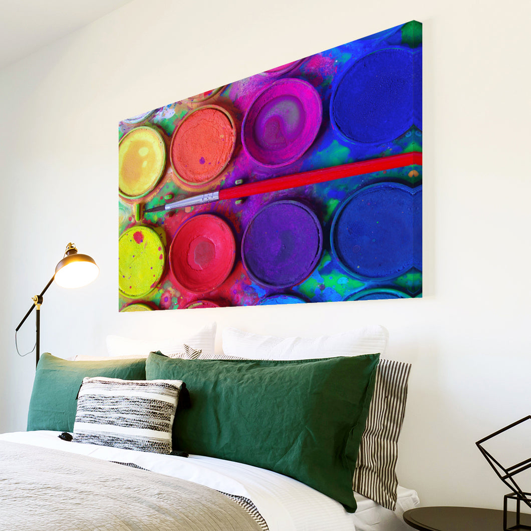 AB260 Framed Canvas Print Colourful Modern Abstract Wall Art - Red Pink Blue Paints-Canvas Print-WhatsOnYourWall