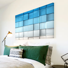 AB261 Framed Canvas Print Colourful Modern Abstract Wall Art - Blue White Squares-Canvas Print-WhatsOnYourWall