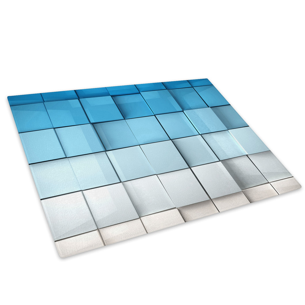 Blue White Squares Glass Chopping Board Kitchen Worktop Saver Protector - AB261-Abstract Chopping Board-WhatsOnYourWall