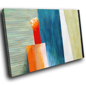 AB262 Framed Canvas Print Colourful Modern Abstract Wall Art - Blue Orange Green-Canvas Print-WhatsOnYourWall