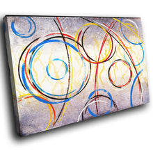 AB263 Framed Canvas Print Colourful Modern Abstract Wall Art - Blue Red Spiral Cool-Canvas Print-WhatsOnYourWall