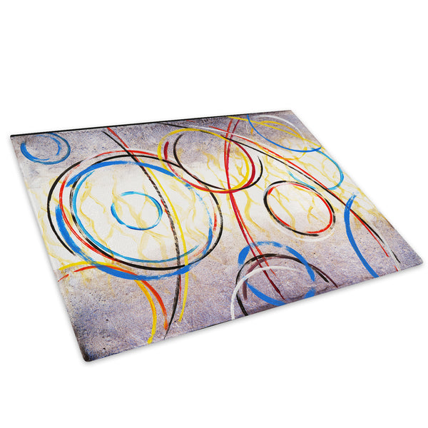 Blue Red Spiral Cool Glass Chopping Board Kitchen Worktop Saver Protector - AB263-Abstract Chopping Board-WhatsOnYourWall