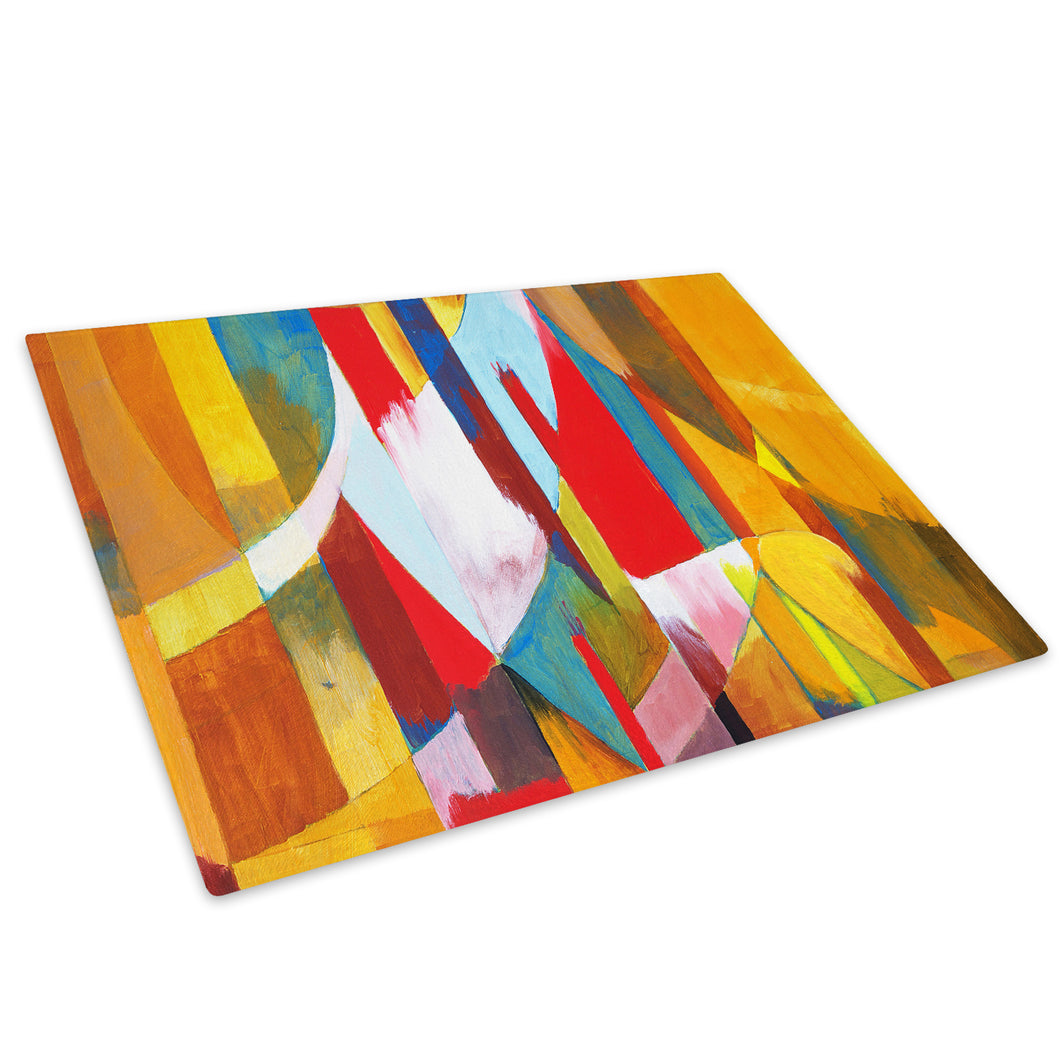 Colourful Stripes Glass Chopping Board Kitchen Worktop Saver Protector - AB264-Abstract Chopping Board-WhatsOnYourWall