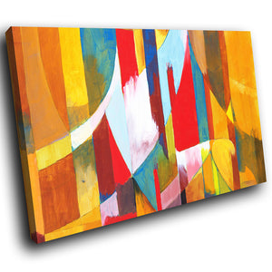 AB264 Framed Canvas Print Colourful Modern Abstract Wall Art - Colourful Stripes-Canvas Print-WhatsOnYourWall