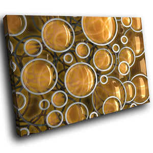 AB265 Framed Canvas Print Colourful Modern Abstract Wall Art - Yellow Brown Circle-Canvas Print-WhatsOnYourWall