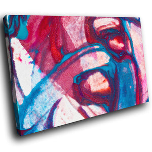 AB269 Framed Canvas Print Colourful Modern Abstract Wall Art - Blue Pink Purple Cool-Canvas Print-WhatsOnYourWall
