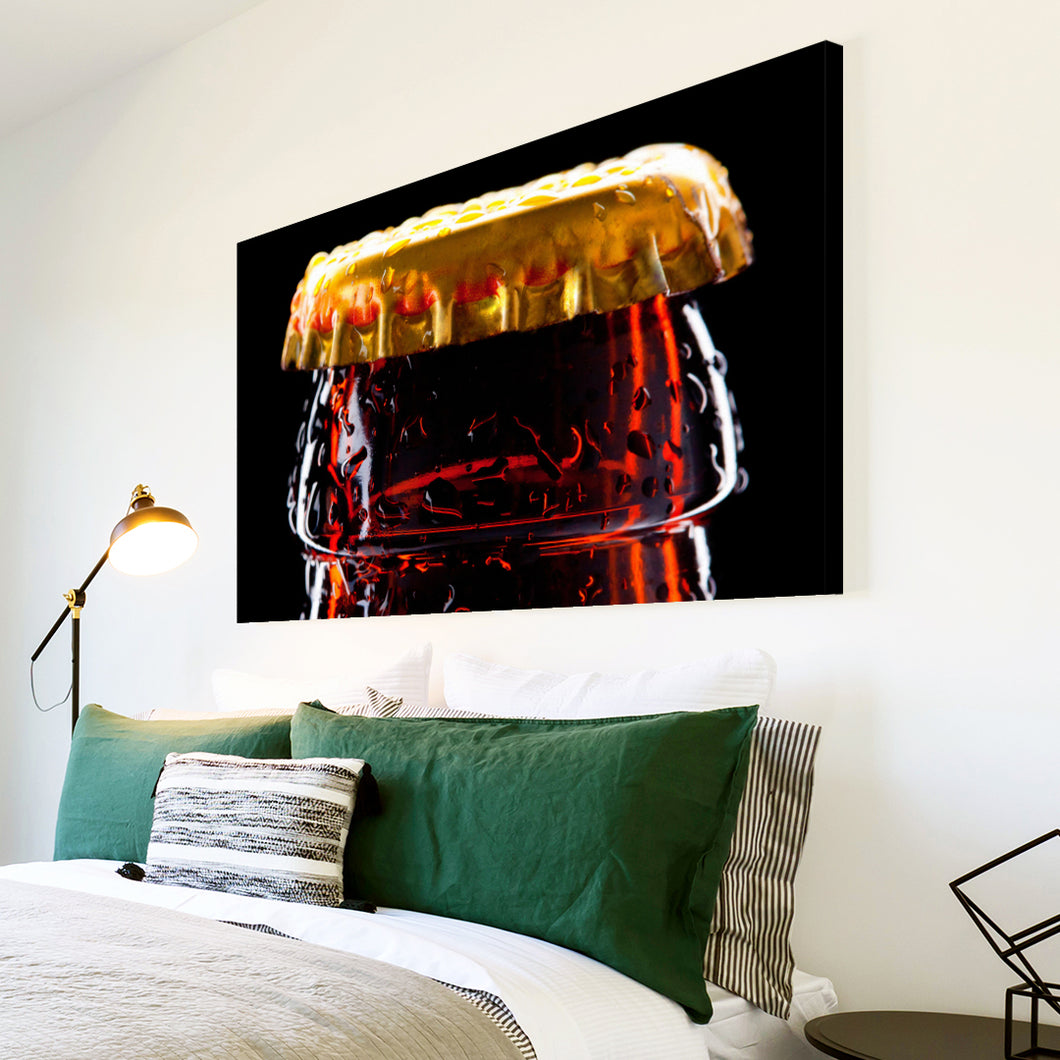 AB270 Framed Canvas Print Colourful Modern Abstract Wall Art - Brown Beer Cap Cool-Canvas Print-WhatsOnYourWall