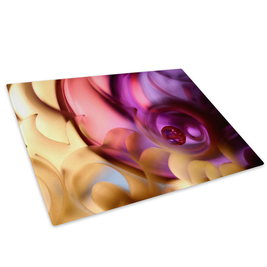 Yellow Pink Purple Glass Chopping Board Kitchen Worktop Saver Protector - AB271-Abstract Chopping Board-WhatsOnYourWall