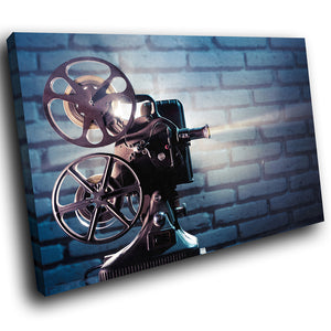 AB272 Framed Canvas Print Colourful Modern Abstract Wall Art -  Film Projector Retro
