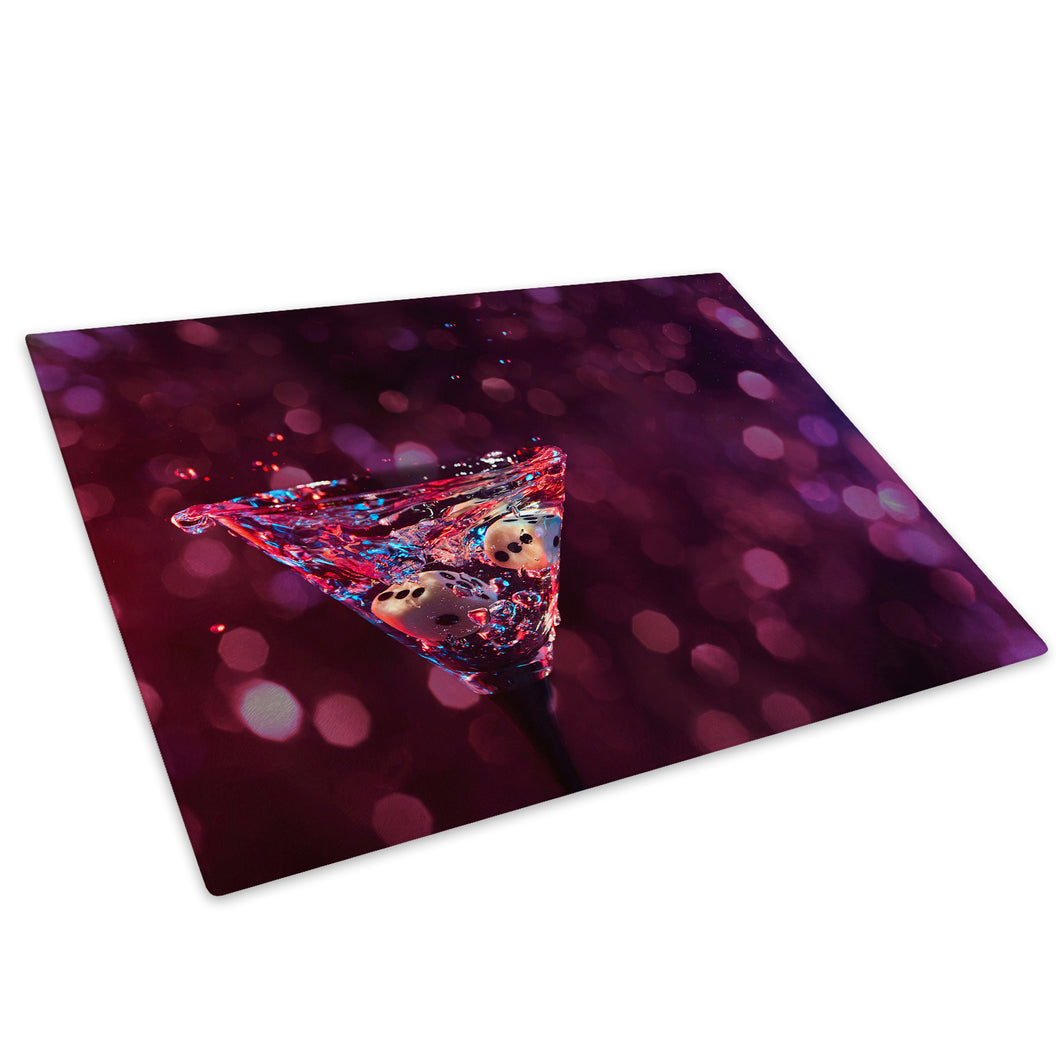 Purple Pink Cocktails Glass Chopping Board Kitchen Worktop Saver Protector - AB273-Abstract Chopping Board-WhatsOnYourWall