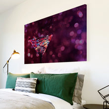 AB273 Framed Canvas Print Colourful Modern Abstract Wall Art - Purple Pink Cocktails-Canvas Print-WhatsOnYourWall