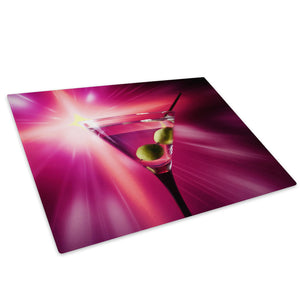 Purple Pink Cocktails Glass Chopping Board Kitchen Worktop Saver Protector - AB274-Abstract Chopping Board-WhatsOnYourWall