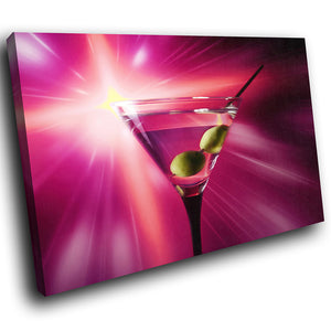 AB274 Framed Canvas Print Colourful Modern Abstract Wall Art - Purple Pink Cocktails-Canvas Print-WhatsOnYourWall