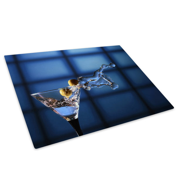 Blue Black Cocktails Glass Chopping Board Kitchen Worktop Saver Protector - AB275-Abstract Chopping Board-WhatsOnYourWall