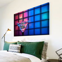 AB276 Framed Canvas Print Colourful Modern Abstract Wall Art - Pink Blue Cocktails-Canvas Print-WhatsOnYourWall