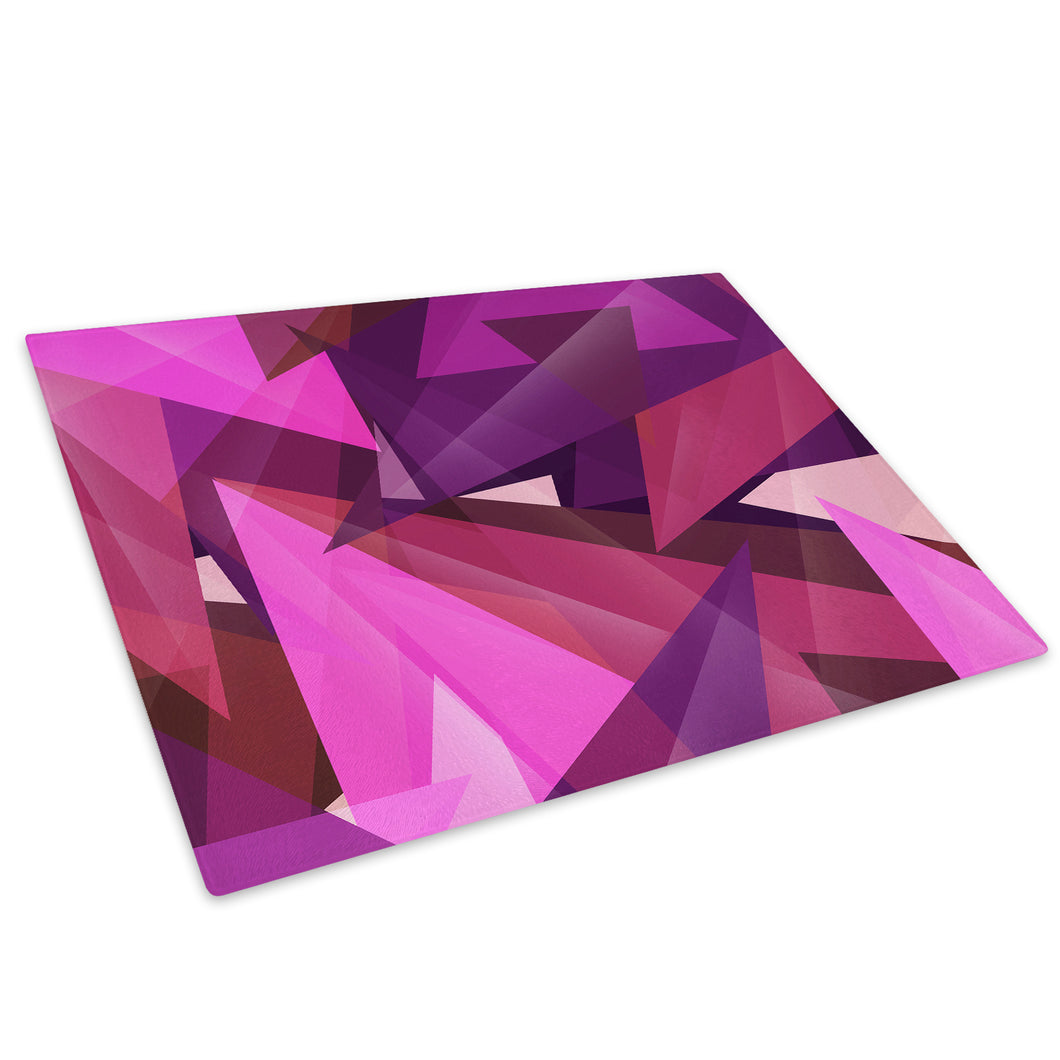 Pink Purple Triangle Glass Chopping Board Kitchen Worktop Saver Protector - AB277-Abstract Chopping Board-WhatsOnYourWall