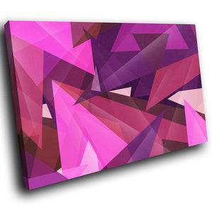 AB277 Framed Canvas Print Colourful Modern Abstract Wall Art - Pink Purple Triangle-Canvas Print-WhatsOnYourWall