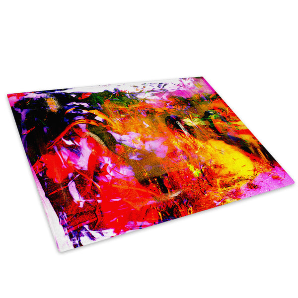 Red Orange Pink Cool Glass Chopping Board Kitchen Worktop Saver Protector - AB278-Abstract Chopping Board-WhatsOnYourWall
