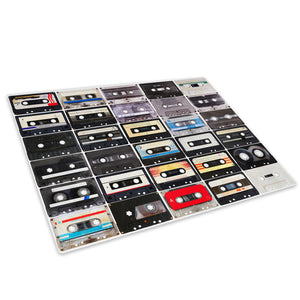 Retro Cassette Cool Glass Chopping Board Kitchen Worktop Saver Protector - AB280-Abstract Chopping Board-WhatsOnYourWall