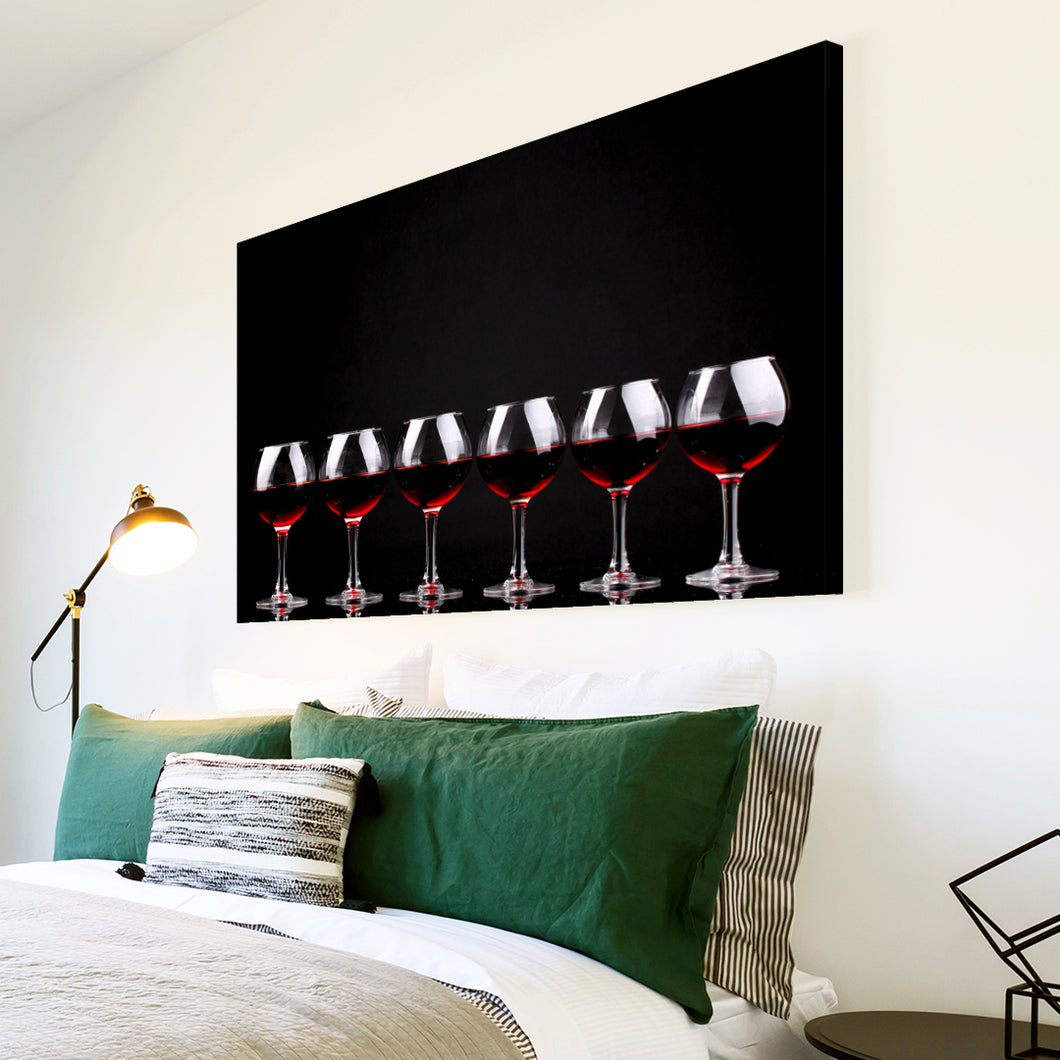 AB281 Framed Canvas Print Colourful Modern Abstract Wall Art - Black Red Wine Cool-Canvas Print-WhatsOnYourWall