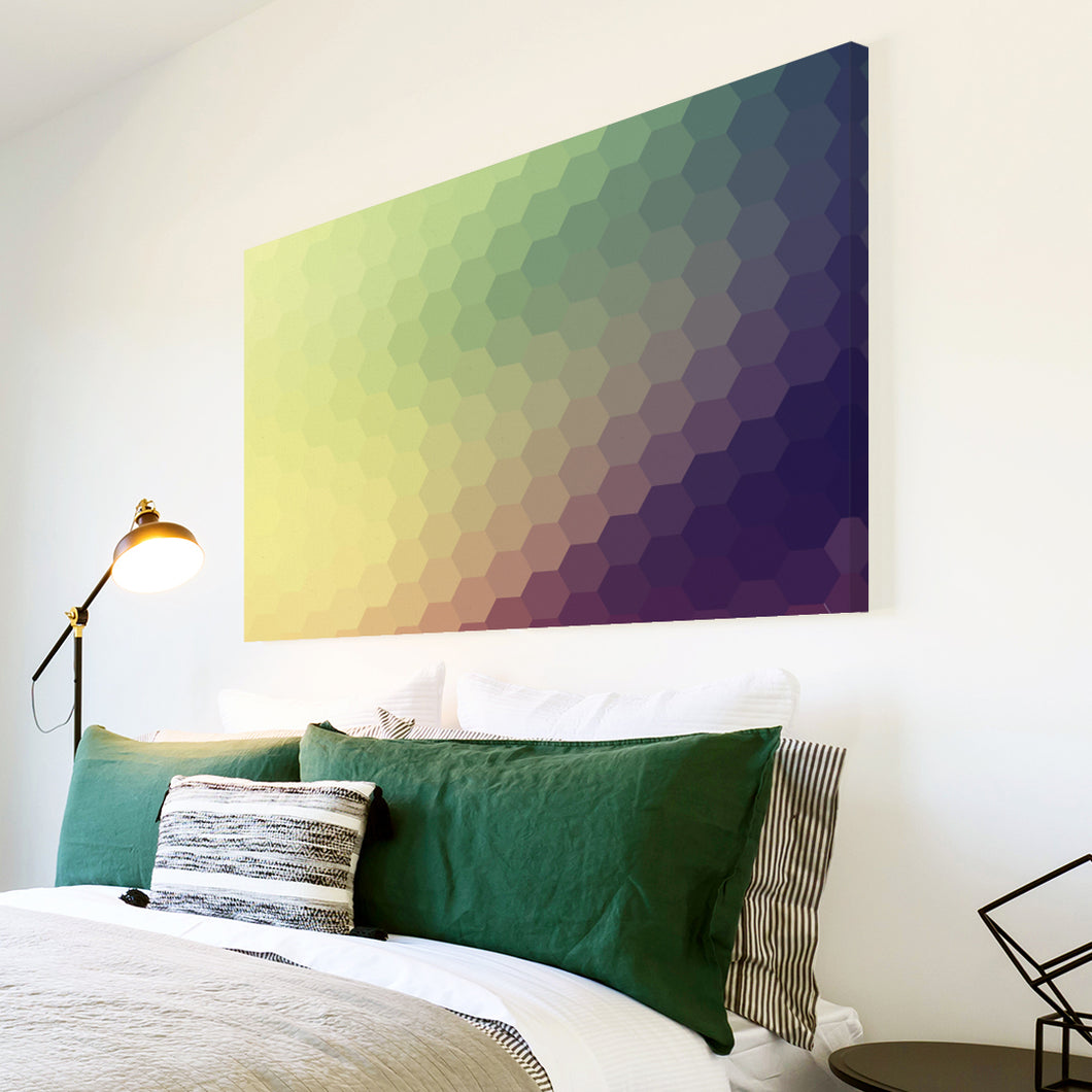 AB284 Framed Canvas Print Colourful Modern Abstract Wall Art - Purple Green Yellow-Canvas Print-WhatsOnYourWall