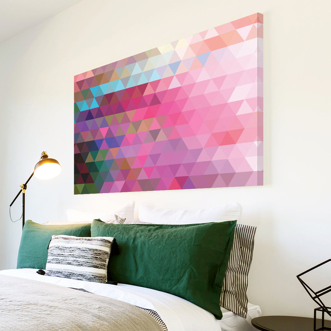 AB285 Framed Canvas Print Colourful Modern Abstract Wall Art - Pink Teal Geometric-Canvas Print-WhatsOnYourWall