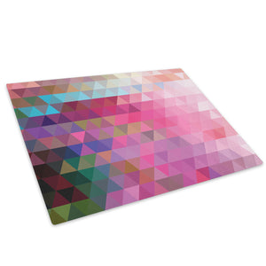 Pink Teal Geometric Glass Chopping Board Kitchen Worktop Saver Protector - AB285-Abstract Chopping Board-WhatsOnYourWall