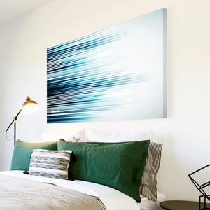 AB286 Framed Canvas Print Colourful Modern Abstract Wall Art - Blue Black Lines Cool-Canvas Print-WhatsOnYourWall