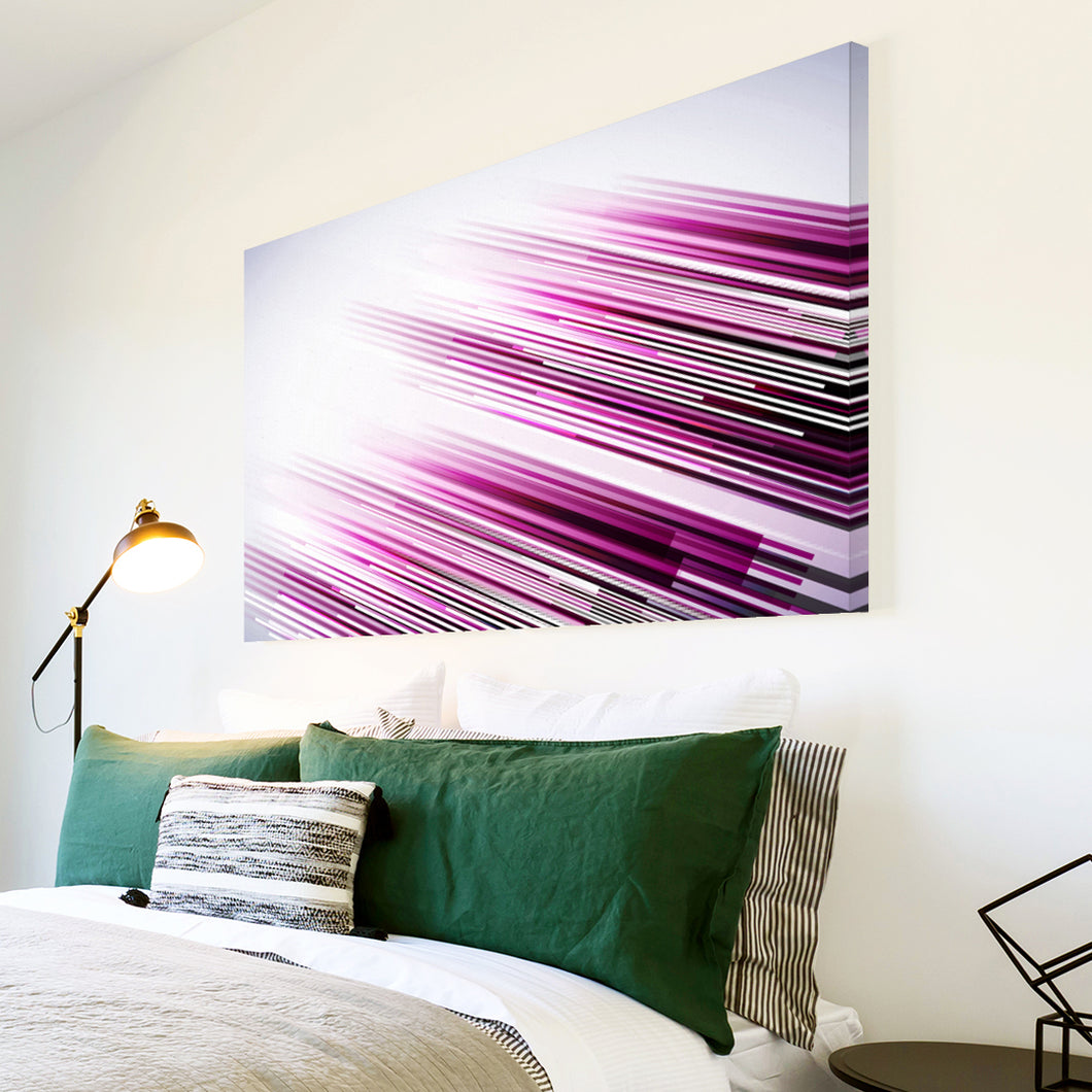 AB287 Framed Canvas Print Colourful Modern Abstract Wall Art - Pink Black Lines Cool-Canvas Print-WhatsOnYourWall