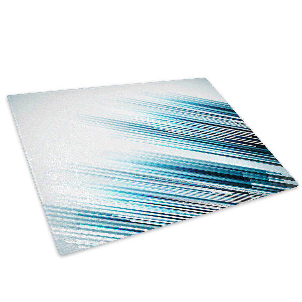 Blue Black Lines Cool Glass Chopping Board Kitchen Worktop Saver Protector - AB288-Abstract Chopping Board-WhatsOnYourWall