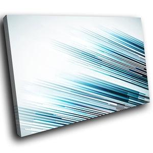 AB288 Framed Canvas Print Colourful Modern Abstract Wall Art -  Blue Black Lines Cool - WhatsOnYourWall