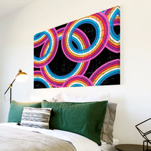AB289 Framed Canvas Print Colourful Modern Abstract Wall Art - Black Pink Red Circle-Canvas Print-WhatsOnYourWall