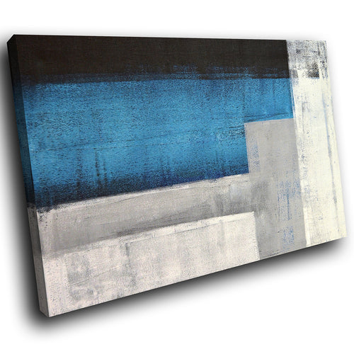 AB290 Framed Canvas Print Colourful Modern Abstract Wall Art - Blue Grey Black Cool-Canvas Print-WhatsOnYourWall