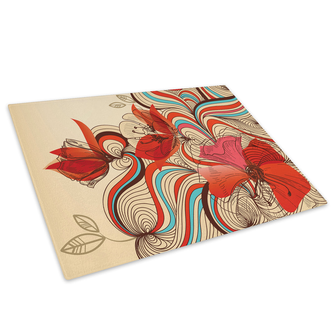 Red Blue Pink Flower Glass Chopping Board Kitchen Worktop Saver Protector - AB292-Abstract Chopping Board-WhatsOnYourWall