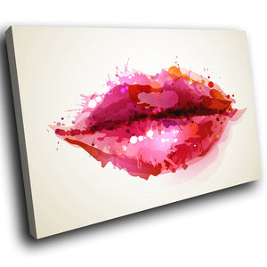 AB294 Framed Canvas Print Colourful Modern Abstract Wall Art - Pink Red Lips Cool-Canvas Print-WhatsOnYourWall