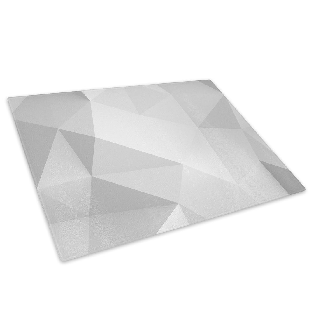 White Grey Geometric Glass Chopping Board Kitchen Worktop Saver Protector - AB295-Abstract Chopping Board-WhatsOnYourWall