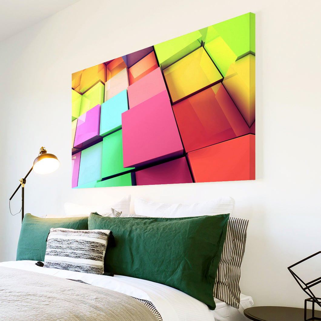 AB298 Framed Canvas Print Colourful Modern Abstract Wall Art - Colourful Squares-Canvas Print-WhatsOnYourWall