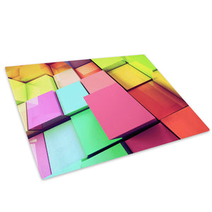 Colourful Squares Glass Chopping Board Kitchen Worktop Saver Protector - AB298-Abstract Chopping Board-WhatsOnYourWall