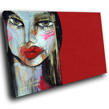 AB299 Framed Canvas Print Colourful Modern Abstract Wall Art - Red Black Blue Face-Canvas Print-WhatsOnYourWall