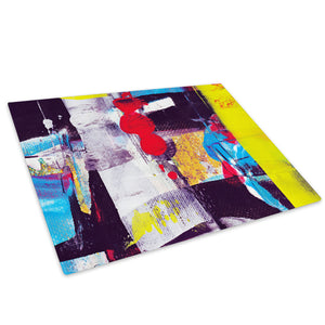 Yellow Red Graffiti Glass Chopping Board Kitchen Worktop Saver Protector - AB301-Abstract Chopping Board-WhatsOnYourWall