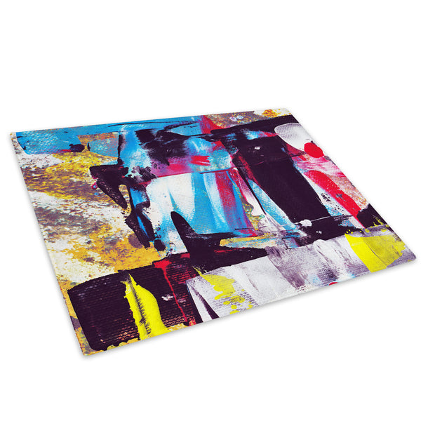 Blue Yellow Graffiti Glass Chopping Board Kitchen Worktop Saver Protector - AB302-Abstract Chopping Board-WhatsOnYourWall