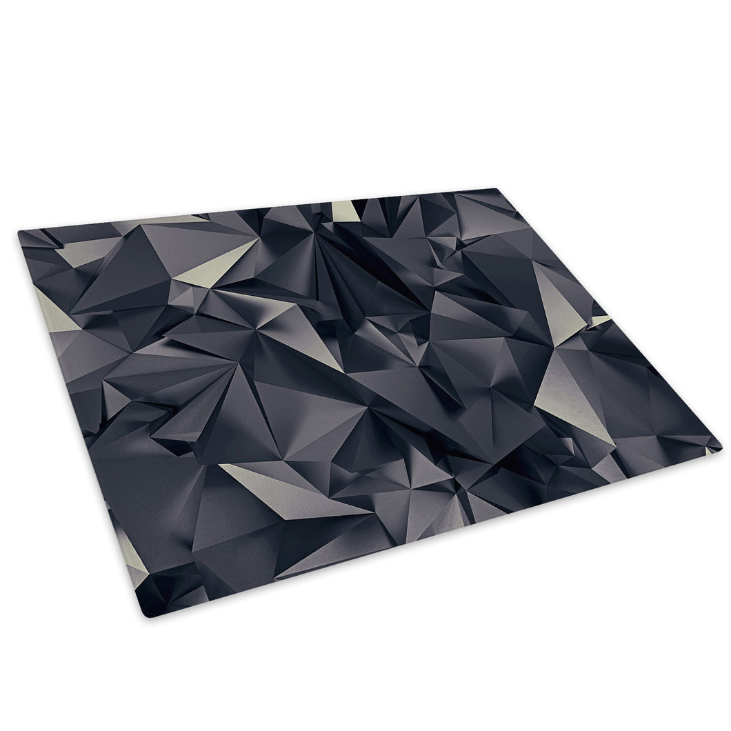 Black Geometric Cool Glass Chopping Board Kitchen Worktop Saver Protector - AB307-Abstract Chopping Board-WhatsOnYourWall