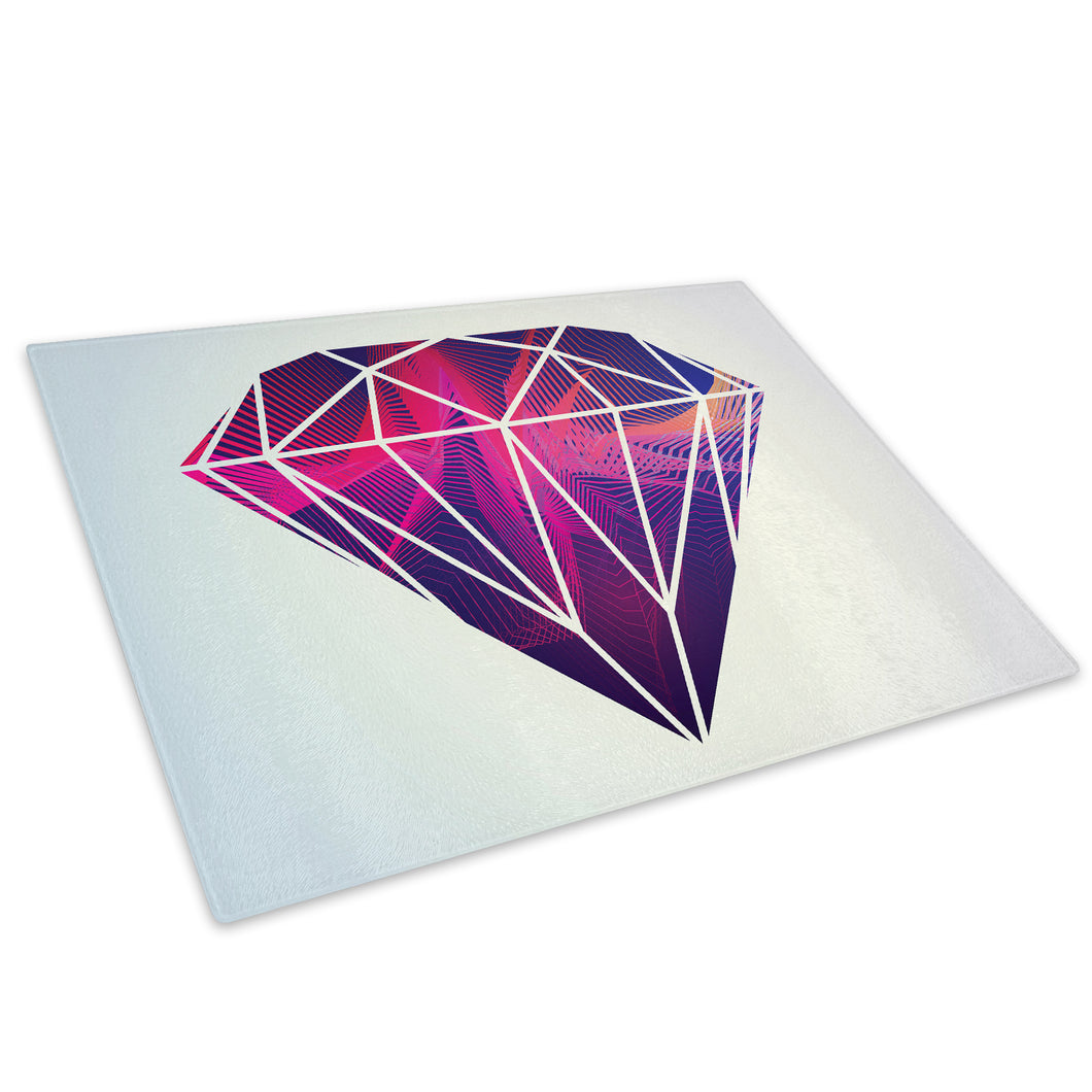 Pink Purple Diamond Glass Chopping Board Kitchen Worktop Saver Protector - AB313-Abstract Chopping Board-WhatsOnYourWall