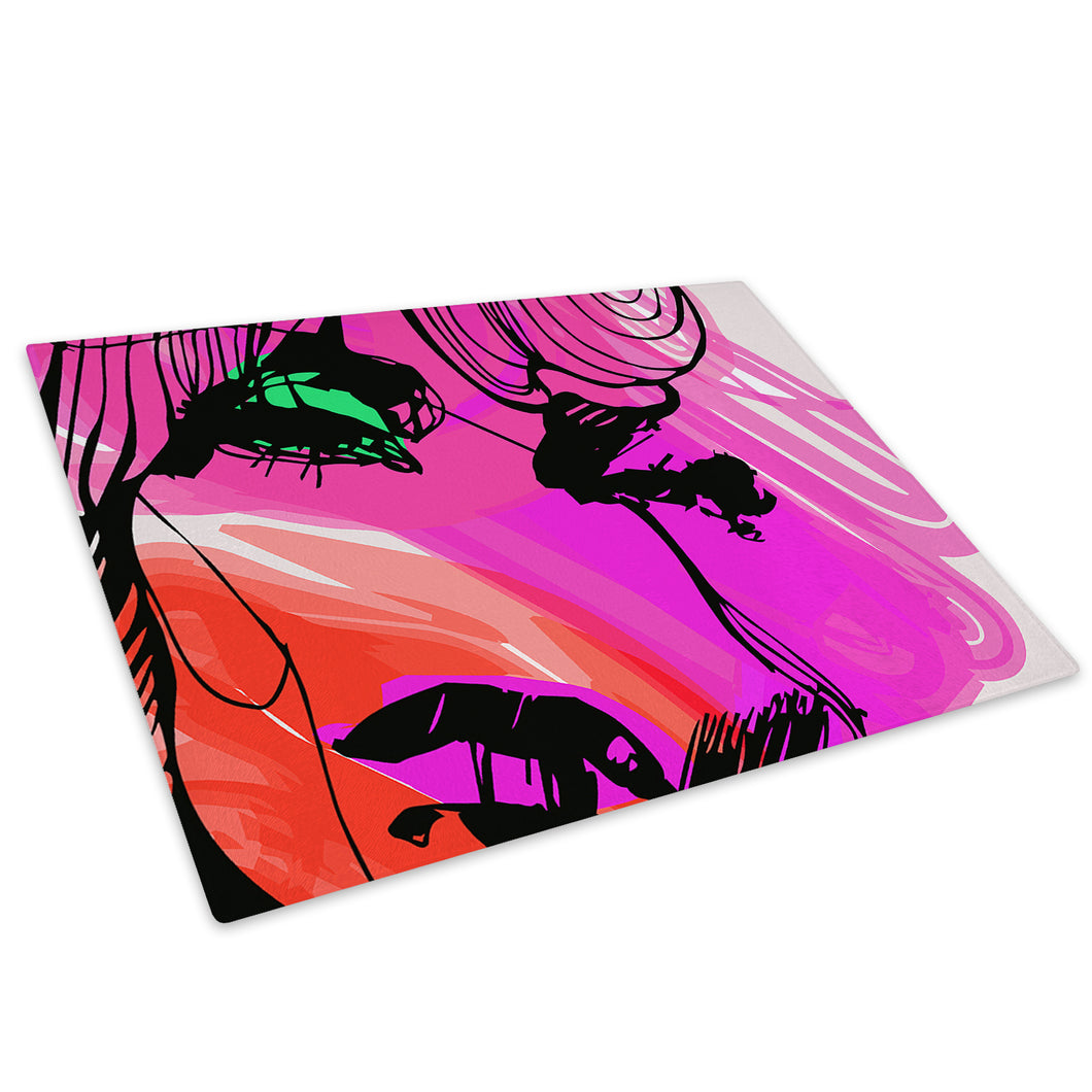 Pink Red Green Woman Glass Chopping Board Kitchen Worktop Saver Protector - AB324-Abstract Chopping Board-WhatsOnYourWall