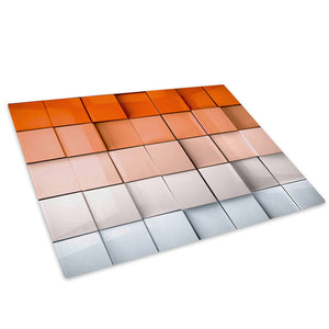 Orange White Squares Glass Chopping Board Kitchen Worktop Saver Protector - AB325-Abstract Chopping Board-WhatsOnYourWall